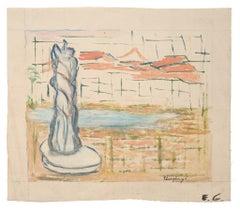 Landscape - Original Mixed Media on Canvas - Mid-20th Century