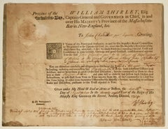 MASSACHUSETTS BAY COLONY DOCUMENT, 1754 Signed by Wm. Shirley