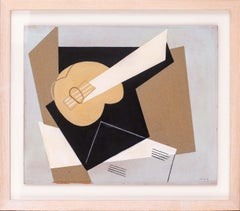 Mid 20th Century, German, abstract still life with guitar, mixed media
