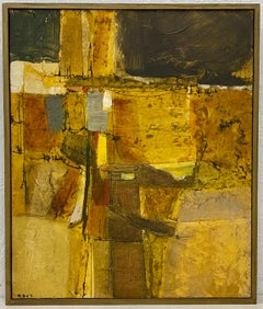 Mid Century Modern Mixed Media Abstract Landscape Painting by R.D. Circa 1967