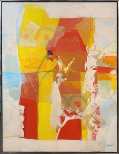 Mixed Media Abstract in Yellow, Red, Blue & White