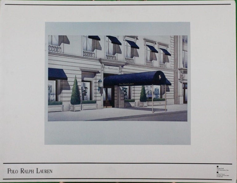 Original architectural rendering (artist: C. Smith 1-97) for the Polo Ralph Lauren Chicago store at 750 No Mich Ave (which opened in 1998) designed by Naomi Leff (1939-2005) & Assoc who also designed the Rhinelander Mansion (flagship store) on