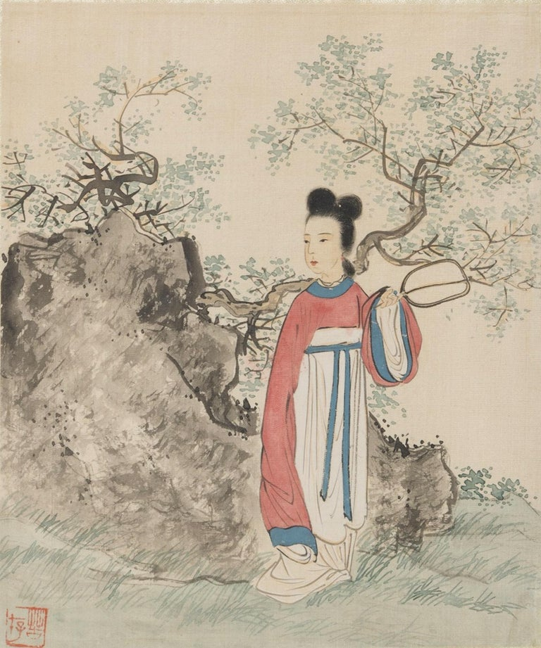 Seven Works Representing traditional Chinese Beauties - Mixed Media Early 1900 For Sale 1