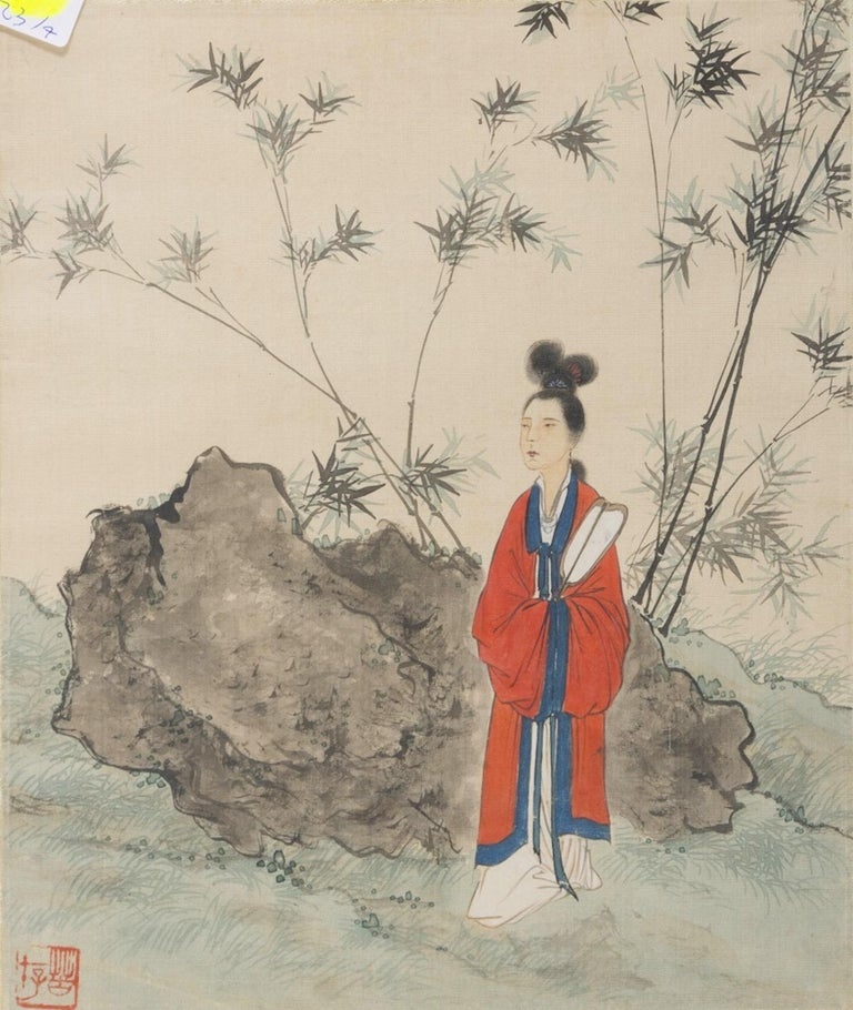 Seven Works Representing traditional Chinese Beauties - Mixed Media Early 1900 For Sale 2