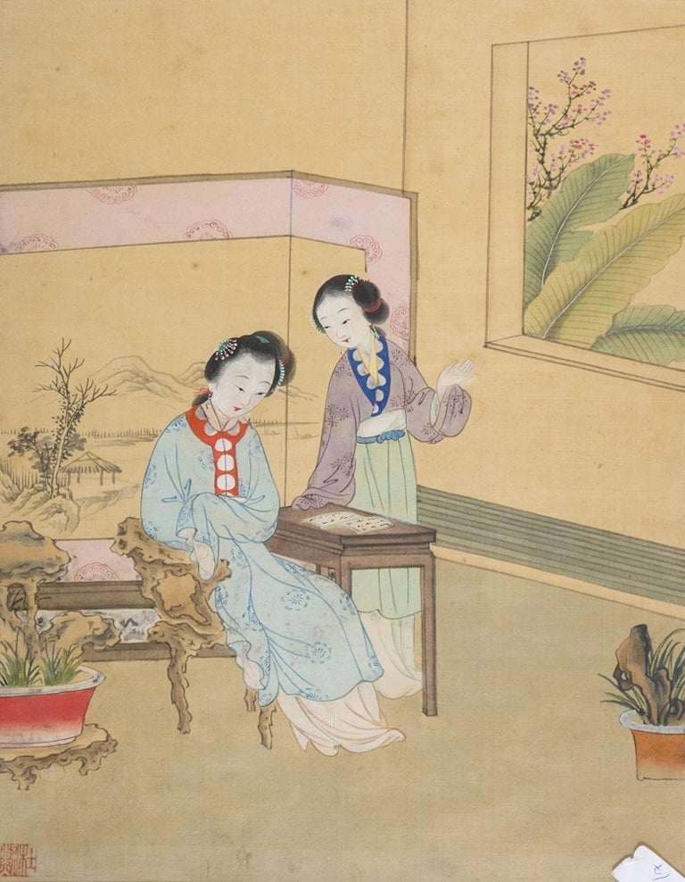 Seven Works Representing traditional Chinese Beauties - Mixed Media Early 1900 For Sale 3