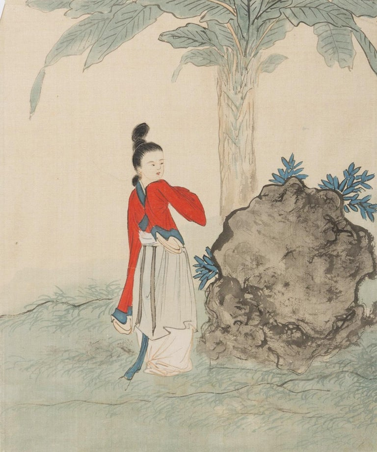 Seven Works Representing traditional Chinese Beauties - Mixed Media Early 1900 For Sale 4