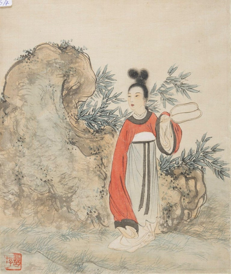 Seven Works Representing traditional Chinese Beauties - Mixed Media Early 1900 For Sale 5