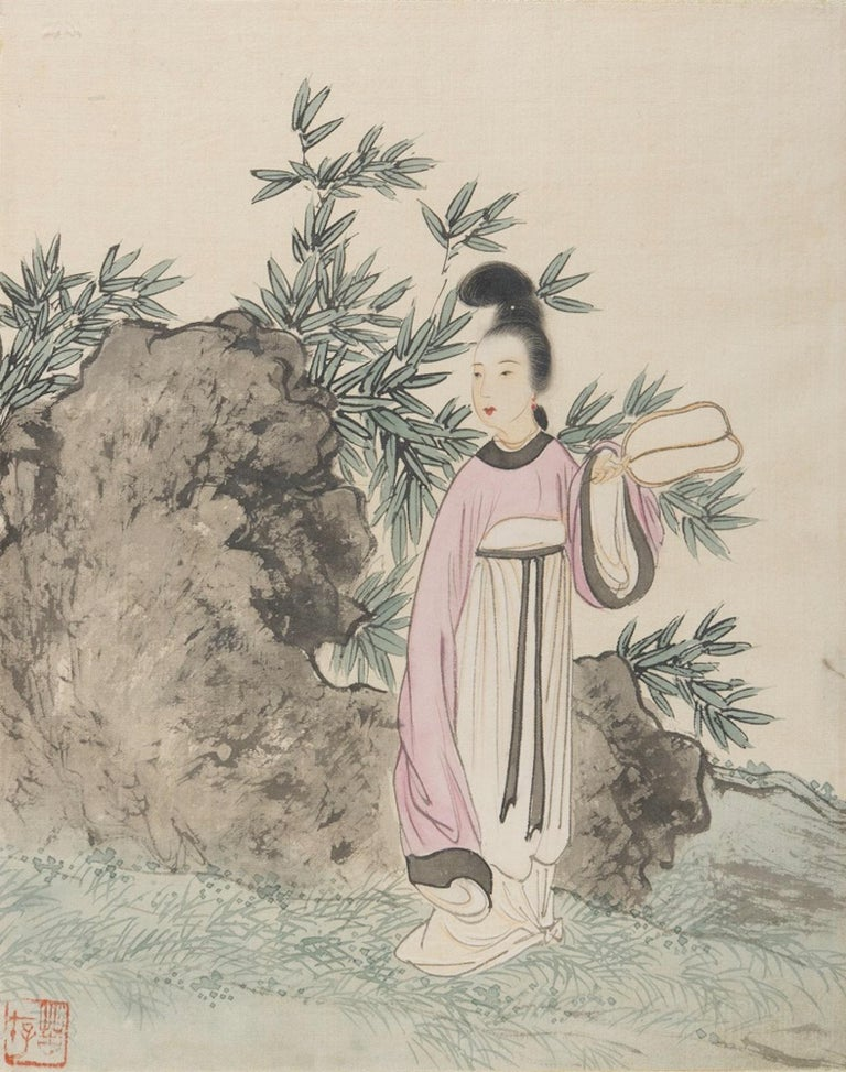 Seven Works Representing traditional Chinese Beauties - Mixed Media Early 1900 For Sale 6