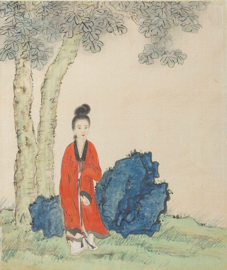 Representation of traditional Chinese Beauties is an original group of Seven Chinese Works realized in the XX Century.   Chinese School of the Early XX Century.   Mixed media on silk.   All the works are in very good conditions.   Very refined mixed