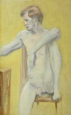 signed M.M; Seated Nude; charcoal, pastel and acrylic on paper