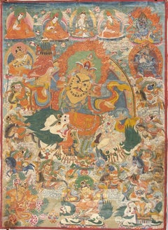 Tibetan Ancient Tangka with Jambhala - Late 19th Century