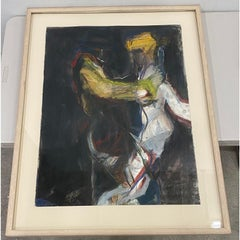 Vintage Mixed Media Figurative Abstract Painting by Willis c.1986