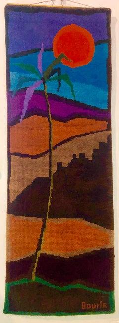 Wool Hand Woven Rug Vintage Maskit Israeli Judaica Mod Folk Art Signed Tapestry