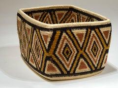 Wounaan Tribe Panama Rainforest Basket, gold, black, red geometric hand woven