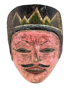 """""""Indonesian Mask, Pink Face, with Mustache,""""  Wood Mask from Indonesia"""