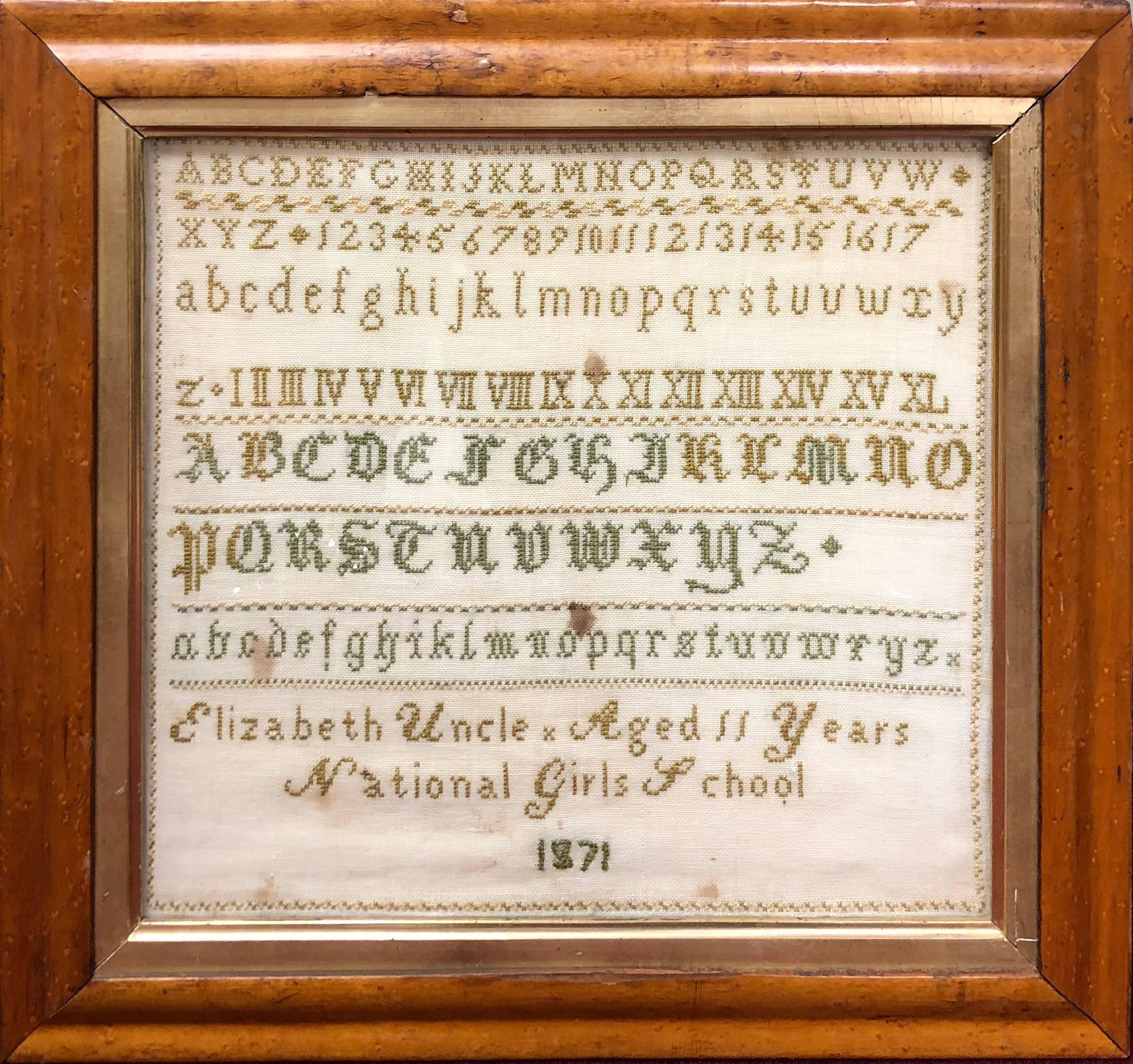 Sampler by Elizabeth Uncle, Aged 11, National Girls School