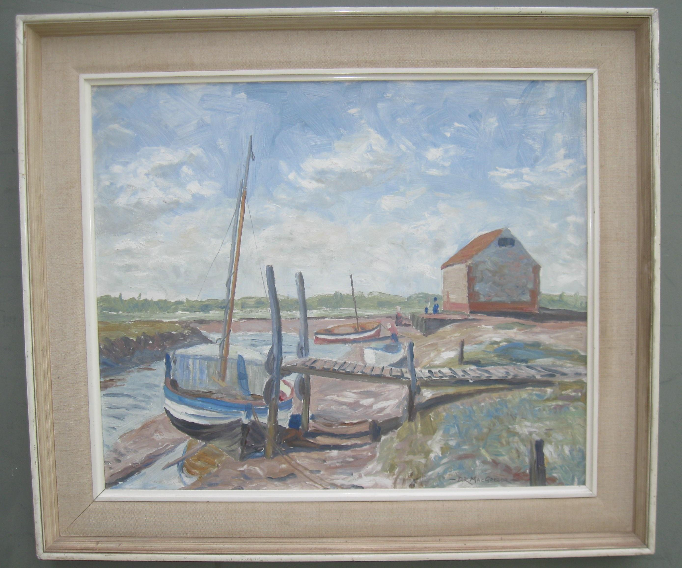 ' Sailboats at Low Tide' oil circa 1965