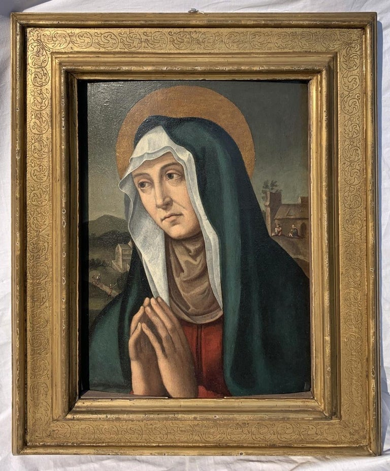 16-17th century Italian figure painting - Anne - Oil on panel Renaissence - Painting by Unknown