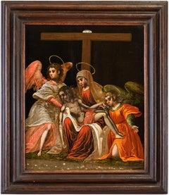 16-17th century Venetian - Cretan figure painting - Christ cross - Oil on panel