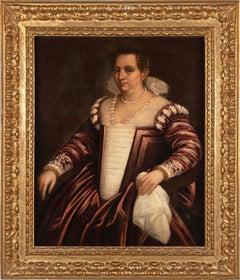 16th - 17th century Venetian figure painting - Noblewoman Portrait - Oil canvas