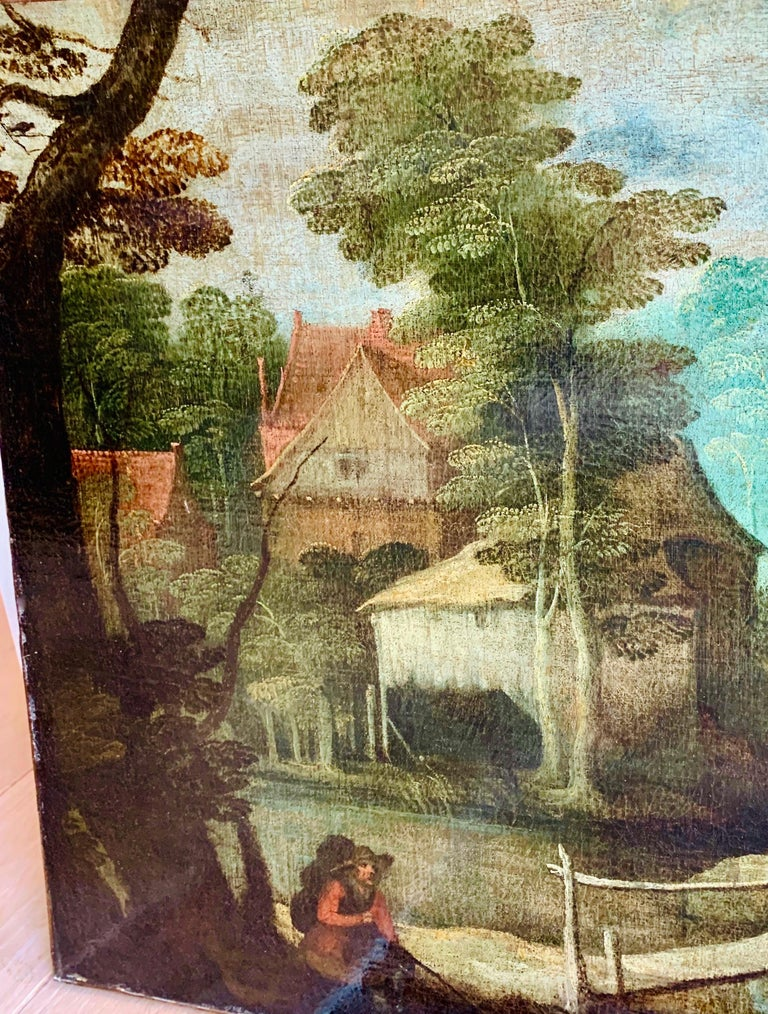 This 16th century painting is very reminiscent with the works of Jan Breughel, Sebastian Vranckx and especially the Master of the Rosenborg hunting scenes.   In the front there is a hunter painting for his prey, while in the background we can see
