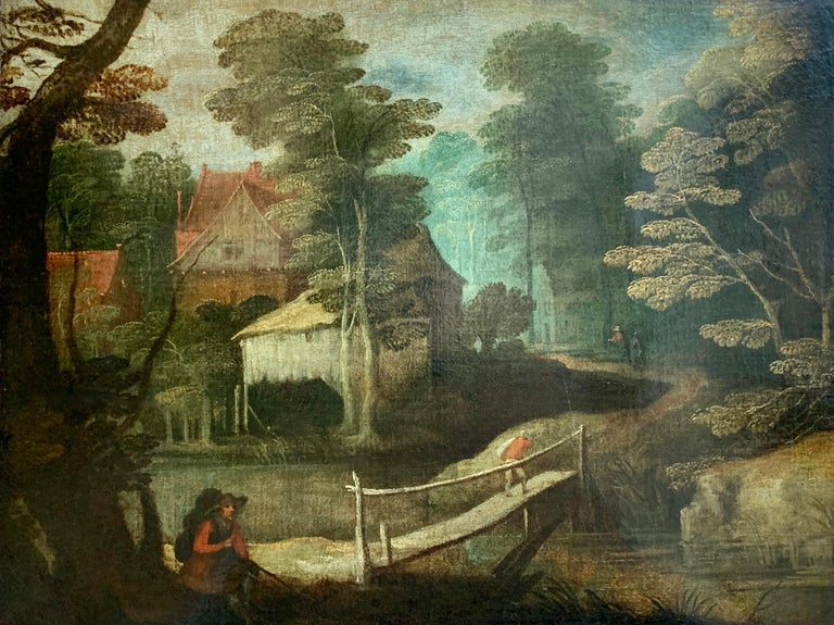 Unknown Landscape Painting - 16th century flemish painting - A breugellian hunting scene