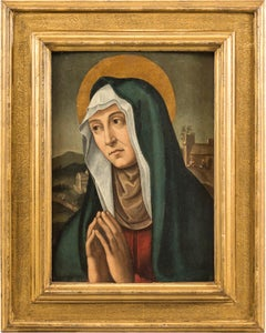 16th century Italian figurative painting - Figure Saint Anne - Oil on wood panel