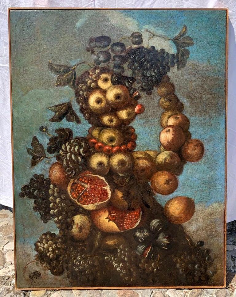 16th century Italian still life painting - Autumn - Oil Canvas Arcimboldo school - Painting by Unknown