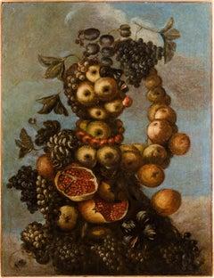 16th century Italian still life painting - Autumn - Oil Canvas Arcimboldo school