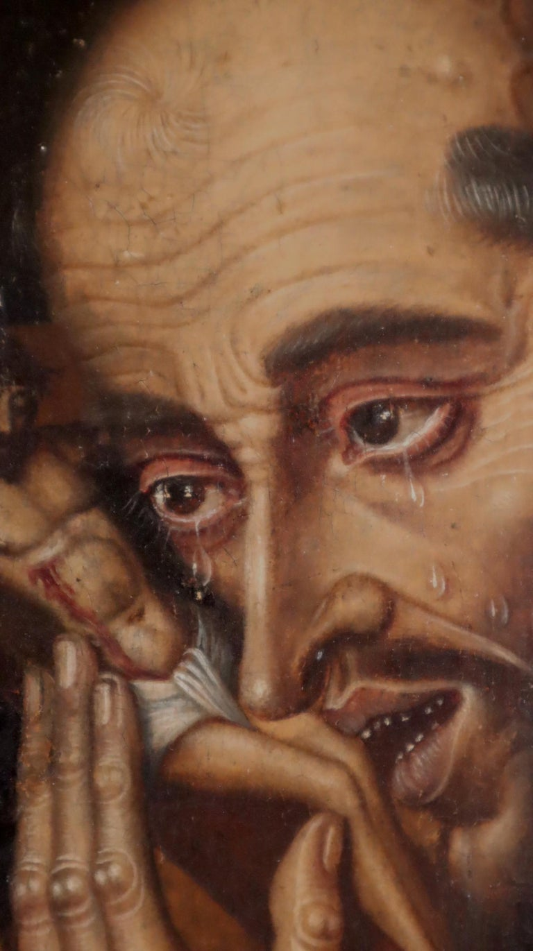 16th century Spanish painting of Saint Francis in tearful ecstasy For Sale 7