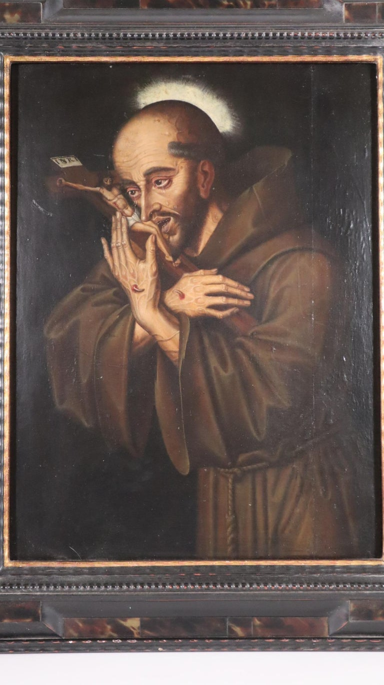 16th century Spanish painting of Saint Francis in tearful ecstasy - Painting by Unknown