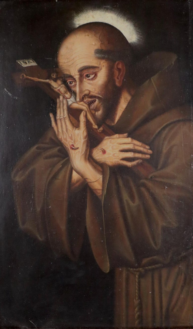 16th century Spanish painting of Saint Francis in tearful ecstasy - Renaissance Painting by Unknown