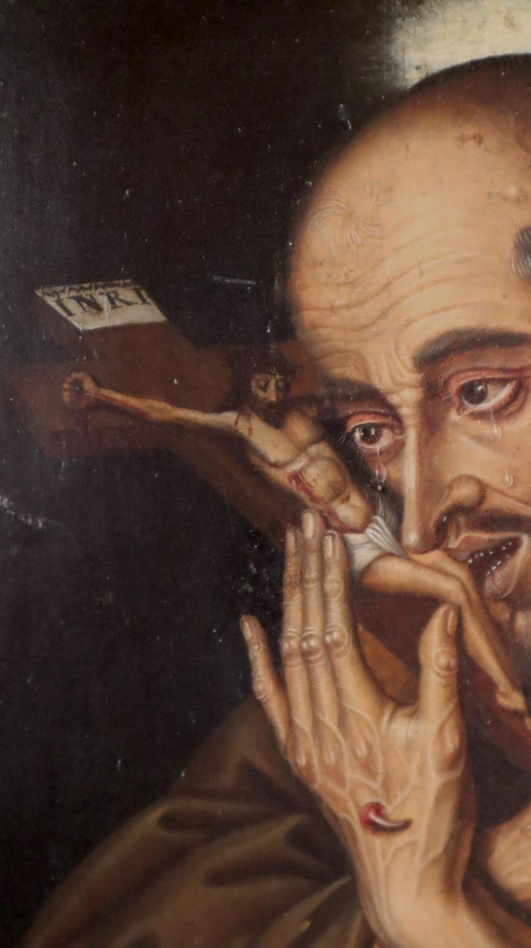 16th century Spanish painting of Saint Francis in tearful ecstasy For Sale 3