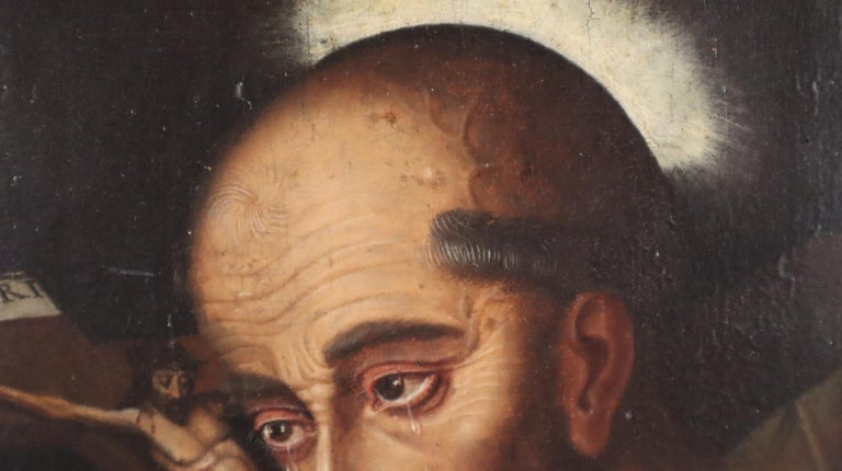 16th century Spanish painting of Saint Francis in tearful ecstasy For Sale 4