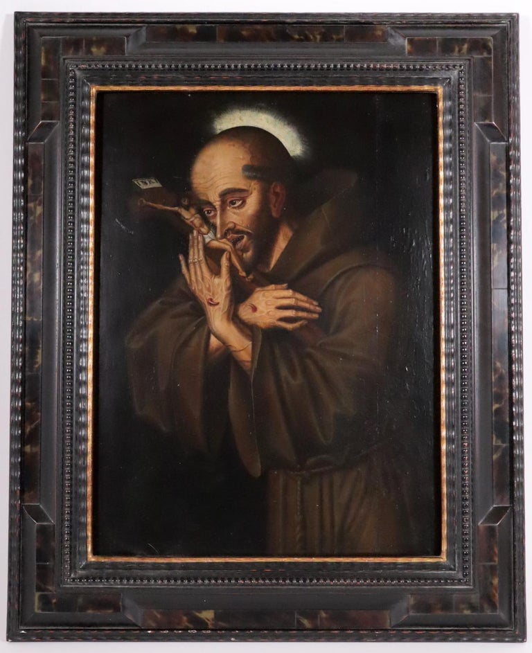 Unknown Figurative Painting - 16th century Spanish painting of Saint Francis in tearful ecstasy