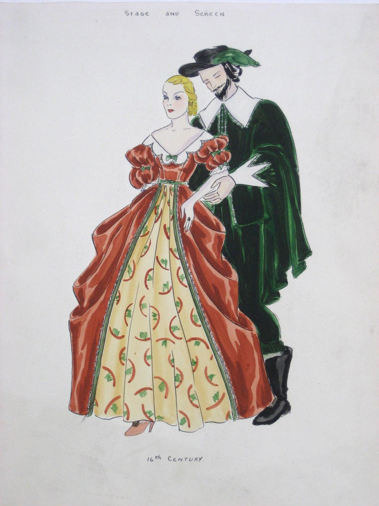 "Unknown Figurative Painting - 16th Century ""Stage and Screen"" Renaissance Couple in Festive Garments"