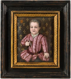 16th century style Italian figurative painting - Noble portrait - Tempera enamel