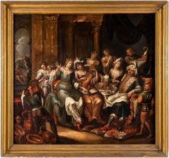 17-18th century Flemish figure painting - Herod banquet - Oil on canvas interior