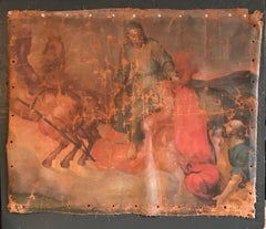1700's Fragment Canvas St. Martin of Tours Giving his Coat to a Beggar, Oil