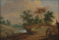 17th C, Landscape, Flemish School, Countryside with Figures at a Small River