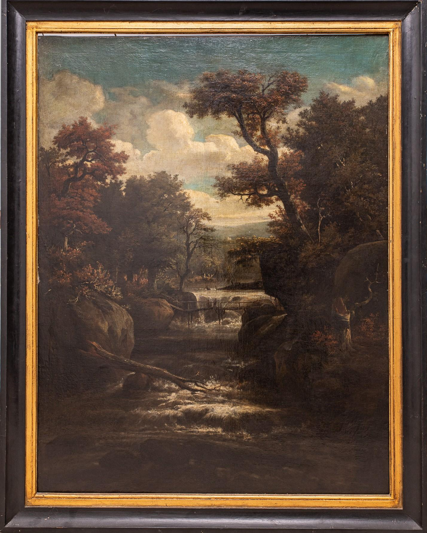 17th Century, Baroque, Forest Landscape with Waterfall, Oil on Canvas, Framed