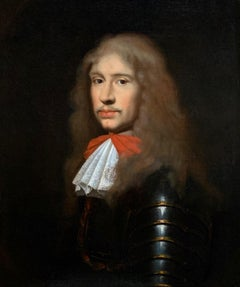 17th Century English Portrait an Officer in Armour with White Cravat and Red Bow