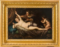 17th century Flemish nude painting - Danae - Oil on canvas figure Italy baroque