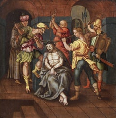17th Century Flemish School Christ's Flagellation Oil on Panel Red Blue