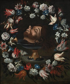 17th Century Head of Saint John the Baptist Painting with Garland of Flowers