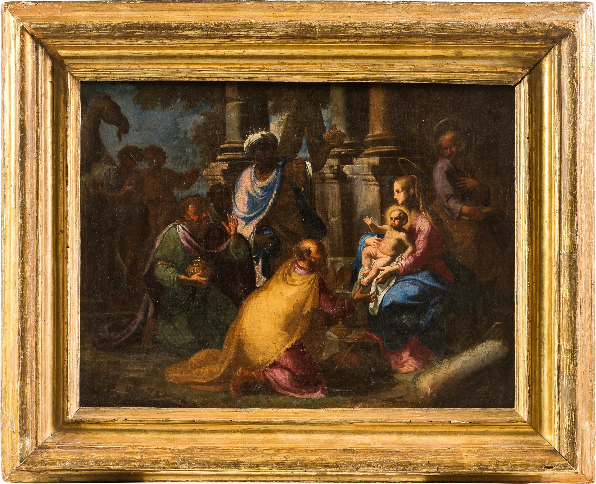 17th century Italian figurative painting - Adoration Magi - Oil on canvas figure