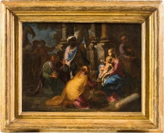 17th century Italian figurative painting - Adoration Magi - Oil on canvas figure