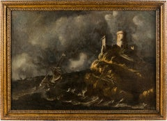 17th century Italian figurative painting - Stormy sea view - Oil on canvas Italy