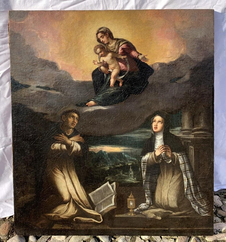 17th century Italian figurative painting - Virgin Child - Oil on canvas figure - Painting by Unknown