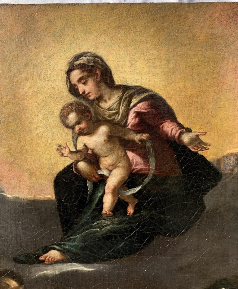 17th century Italian figurative painting - Virgin Child - Oil on canvas figure For Sale 3
